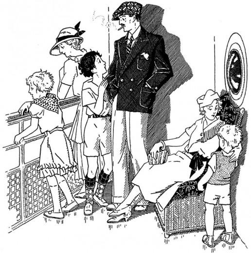 Toute la famille s'installe au complet sur le pont du navire.