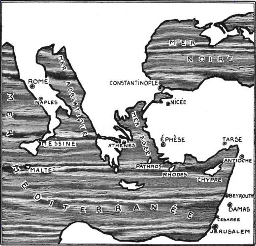 Carte des voyages de Saint Paul