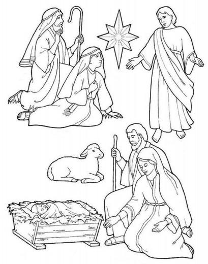 Coloriage pour le catéchisme, Noël et Crèche
