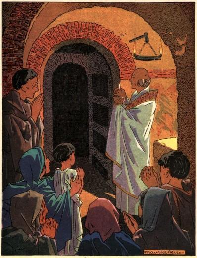Histoire de l'Église pour les scouts - Messe dans les Catacombes