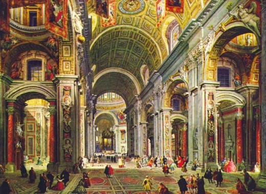 Giovanni-Paolo Pannini - Interieur de la basilique de Saint-Pierre de Rome - 1755