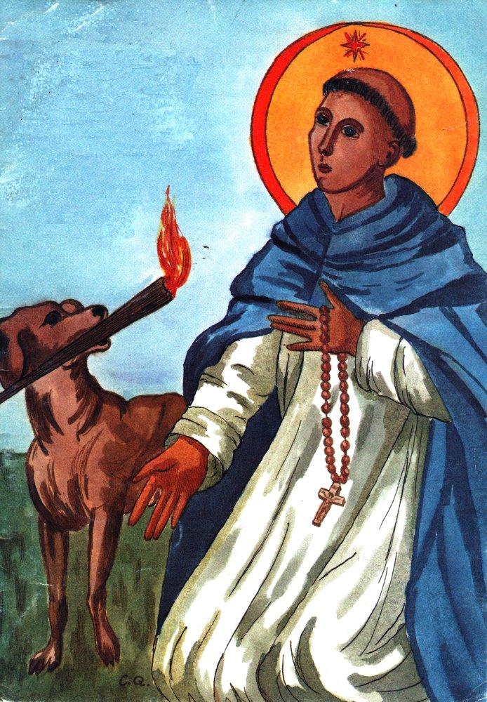 Saint Dominique - Chien portant une torche répandant le feu en Europe