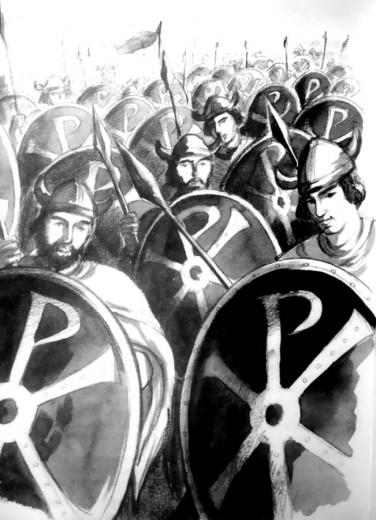 Soldats de Constantin avec le signe du Christ sur le bouclier