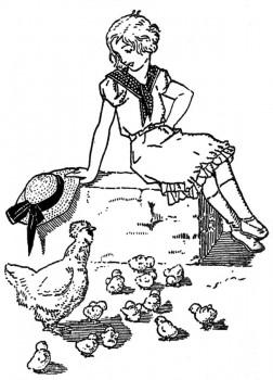 Colette et les petits poussins.
