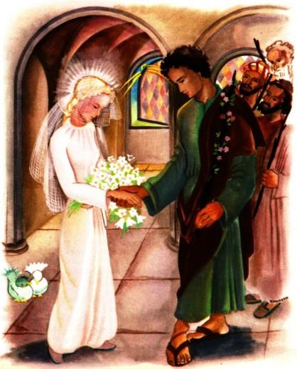 Joseph et son baton fleuri, choisi par Marie
