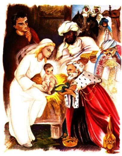 Image de l'Epiphanie : l'adoration des mages
