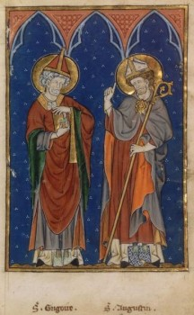 Saint Grégoire le Grand envoyant saint Augustin évangéliser les Angles et les Saxons. Livre d'images de Madame Marie. Hainaut. XIVe.