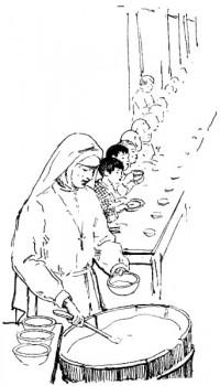 CHINE. — Au Pemen, repas des enfants chez les Franciscaines Missionnaires de Marie.