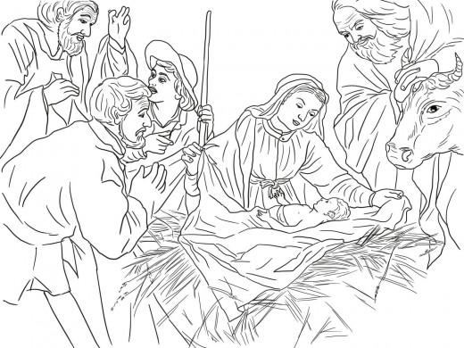 Coloriage de Noël - L'adoration des bergers