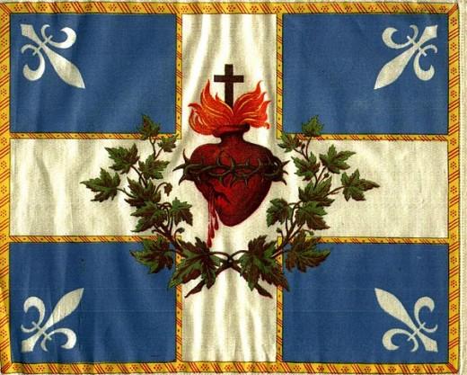 Drapeau du sacré Coeur des catholiques quebecois français