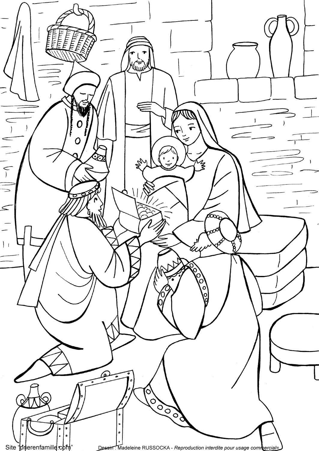 Coloriage pour le catéchisme : les rois mages adorant