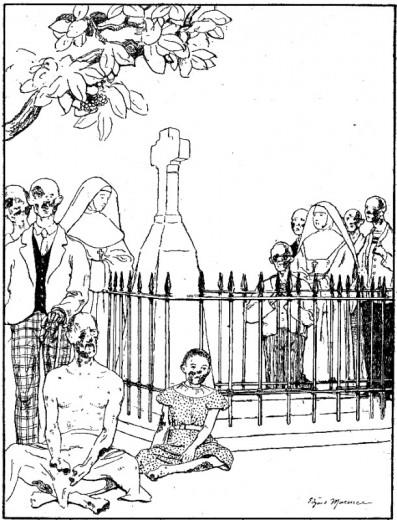 Récit pour les enfants du caté. Les lépreux autour de la tombe du Père Damien.