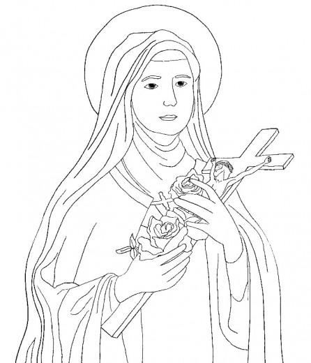 Coloriage pour les enfants du catéchisme : sainte Thérèse