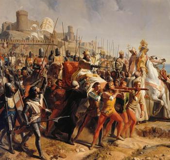 Baudoin IV lépreux sur sa civière au milieu du champ de bataille