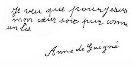 Phrase d'Anne de Guigné : Je veux que pour Jesus mon ceour soit pur comme un lis