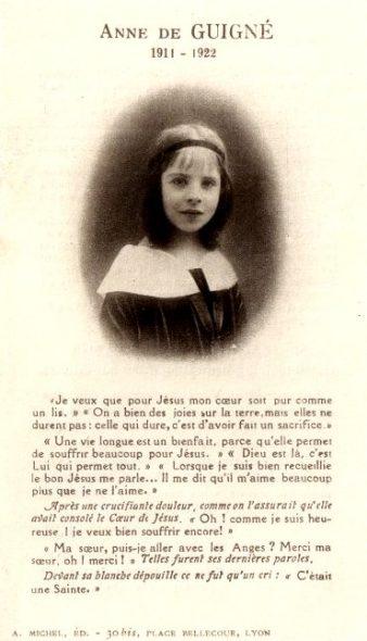 La Petite sainte Anne de Guigné, un modèle pour les enfants