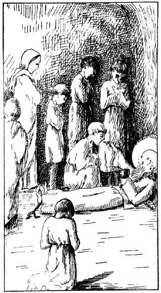 Saint Lucien célèbre la messe sur sa poitrine en prison