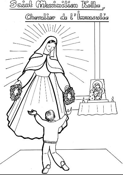 Coloriage pour enfant de la Vierge faisant choisir les deux couronnes à Maximilien Kolbe