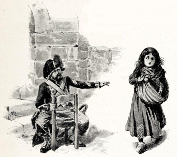 Un soldat de la Révolution s'adresse à un enfant aristocrate