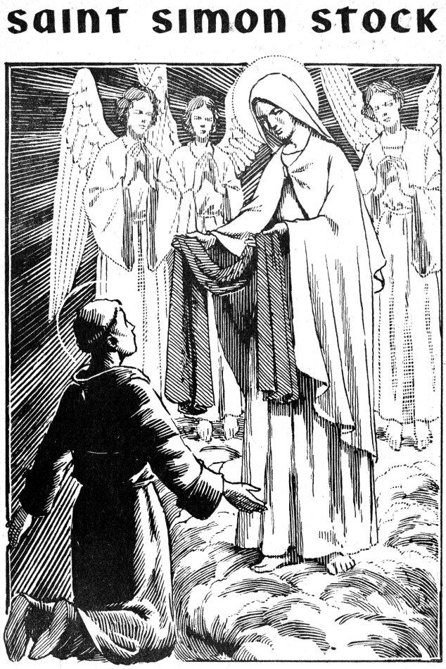Coloriage de Saint Simon Stock recevant le Scapulaire des mains de Marie