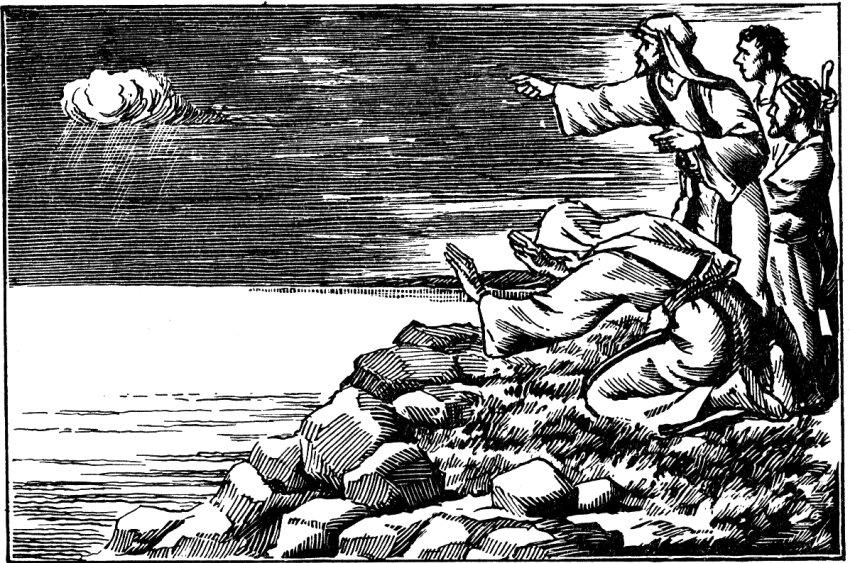 Élie prie pour la pluie du sommet du Mont-Carmel.