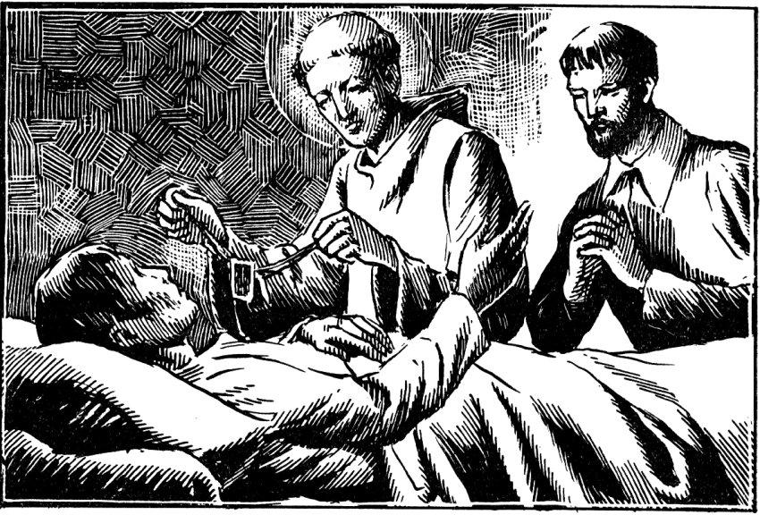 Saint Simon Stock convertit M. de Lihyton mourant.