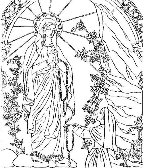 Coloriage pour le catéchisme : ND de Lourdes