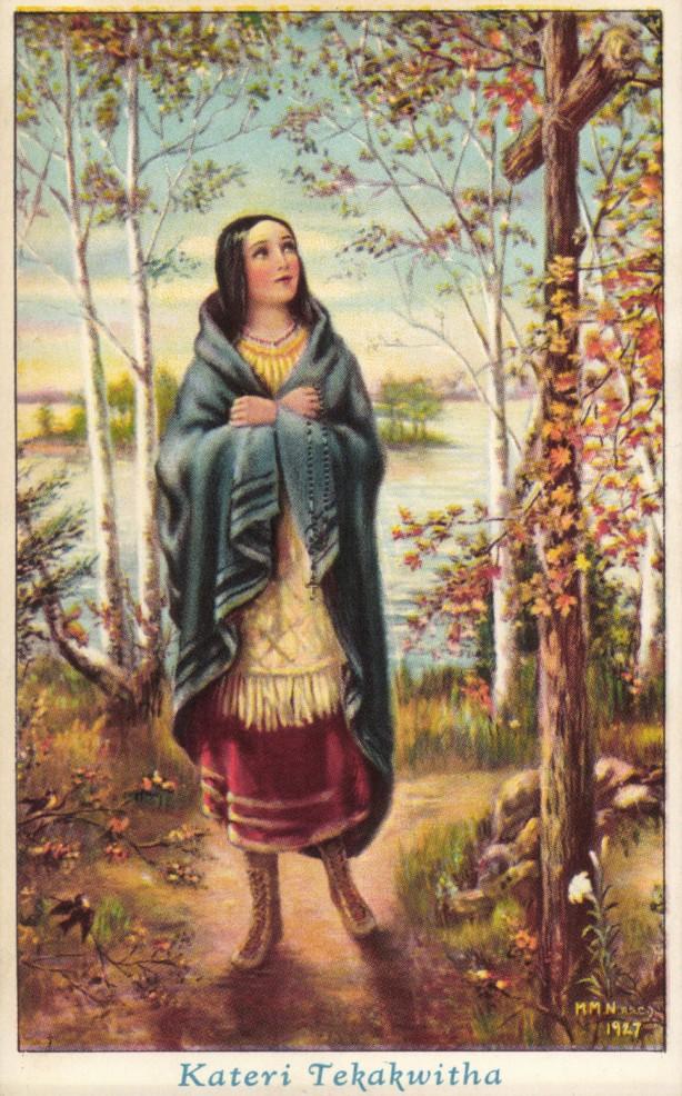 sainte Kateri Tekakwitha prie dans la forêt du Canada