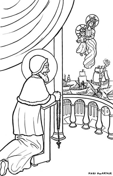 Coloriage pour les enfants - Saint Pie V et le chapelet et la Victoire de Lépante