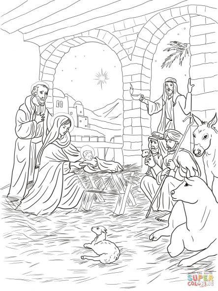 Coloriage de Noel, La crèche avec le boeuf et l'ane