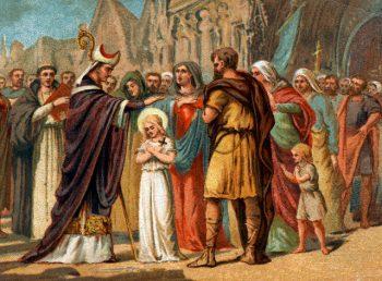 ca. 1890 --- Illustration de Saint Germain d'Auxerre qui prédit la mission de Sainte Geneviève