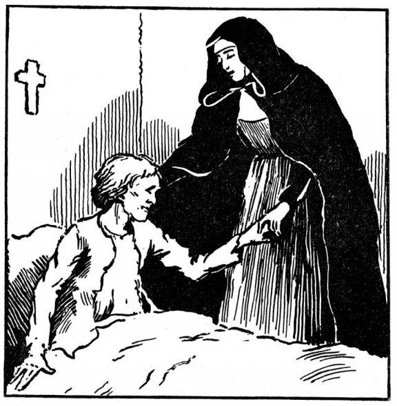 Coloriage Sainte Jeanne Jugan s'occupant des pauvres