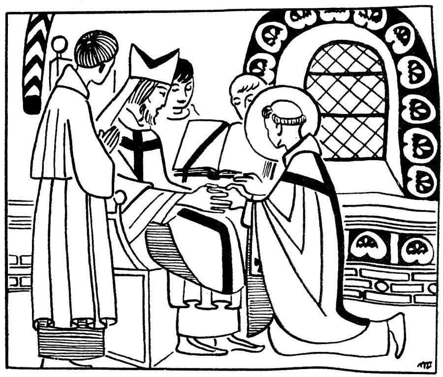 Saint Patrick pour les guides et scoutes - L'évêque de Pise le fait prêtre.