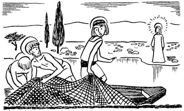 Après la Résurrection, Jésus apparait aux apôtres sur le bord du lac de Génésareth