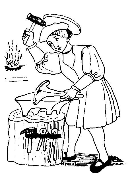 Coloriage Saint Éloi forgeron maréchal-ferrant, orfèvre