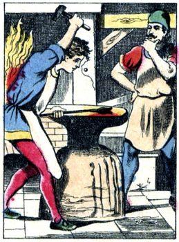 Légende de Saint Éloi - Jésus forge un fer en une chaude