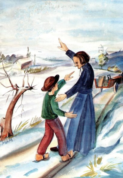 Le curé d'Ars indique le chemin du ciel à un jeune garçon