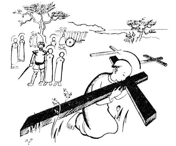 Coloriage petits martyrs japonais embrassant la croix