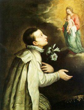 Louis de Gonzague enfant vénerant la Vierge Marie