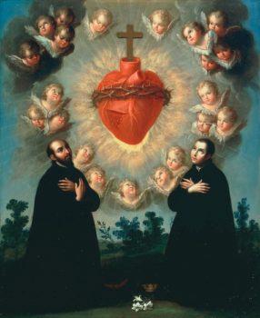 Saint Louis de Gonzague et Saint Ignace de Loyola en Adoration devant le Divin Coeur de Jesus