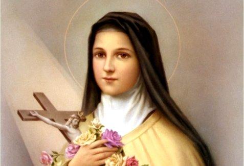 Sainte Thérèse de l'Enfant Jésus et pluie de roses