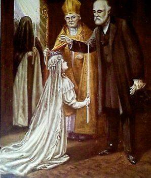 Sainte Thérèse reçoit la bénédiction de son père avant l'entrée au carmel de Lisieux
