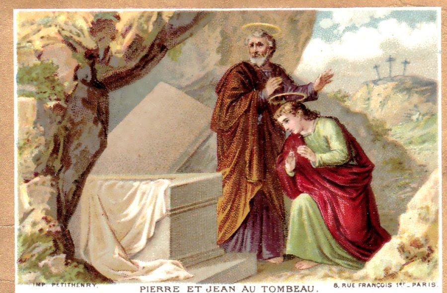 Les apôtres Pierre et Jean devant le tombeau vide à Pâques