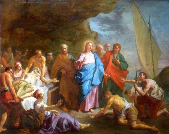 Jesus guerissant les malades sur le bord du lac de Genezareth
