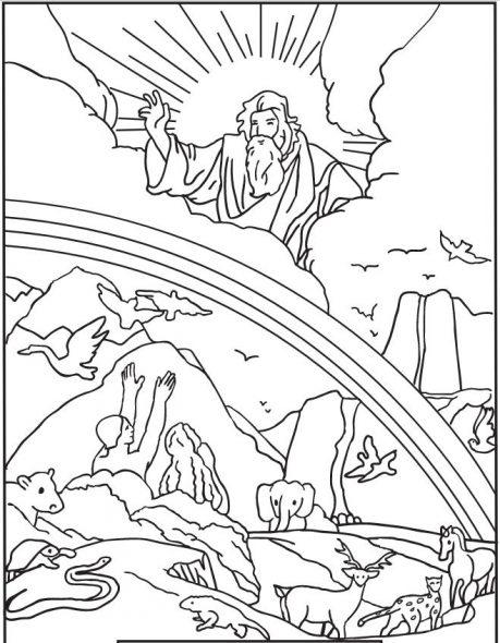 Coloriage pour les enfants du catéchisme - La Création du monde