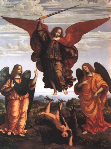 Création dans la bible : L'archange saint Michel chassant Lucifer
