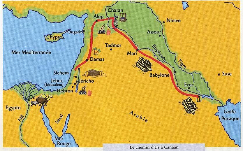 Carte des voyages d'Abraham, d'Ur à Canaan