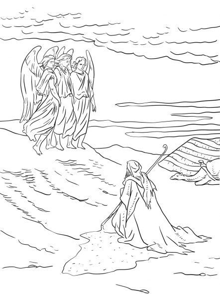 Coloriage pour le catéchisme : Abraham-et-les-trois-anges