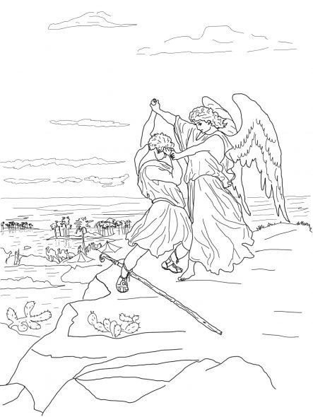 Coloriage biblique - Combat de Jacob contre l'ange