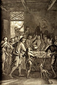 gravure : Les Israélites mangent la Pâque en Égypte